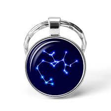 Birthday Gift 12 <b>Zodiac Sign Glass</b> Dome Jewelry Keychain Virgo ...