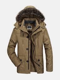 Plus Size Winter <b>Thicken</b> Detachable Hood and <b>Fur Collar</b> Jacket for ...