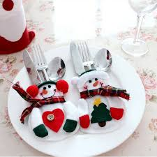 household dining table set christmas snowman knife: christmas snowman and decorative cutlery bags household gift dining table cutlery sets christmas decorationschina