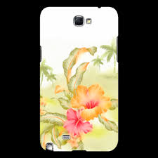 """Чехол для Samsung Galaxy Note 2 """"<b>Тропические цветы</b>, <b>пальмы</b> ..."""