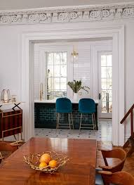 room french style furniture bensof modern: chic and stylish open plan living with a kitchen and adjacent dining space those blue velvet upholstered bar stools at the island unit are fabulous