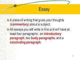 prepared by melissa freeman the multi paragraph essay arp isd   essay a piece of writing that gives your thoughts  commentary  about a subject