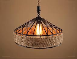 REO Lites LED Nordic <b>Vintage Industrial Hemp Rope</b> Pendant Lamp ...
