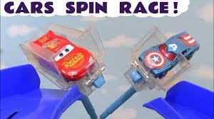 Disney Cars Toys McQueen <b>spin race</b> with <b>Hot Wheels</b> superhero ...