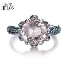 2019 <b>HELON Pave</b> SI/H Blue <b>Diamonds</b> Solid 10K White Gold 8mm ...