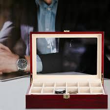 6/<b>10</b>/12 <b>GRIDS</b> GLASS Solid Wooden Watch Case Organizer <b>Luxury</b> ...