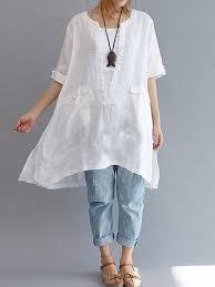 <b>women short sleeve loose</b> asymmetric blouse at Banggood