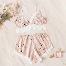 COLROVIE Pink <b>Floral Print</b> Lace Striped Satin Lingerie Set <b>Sexy</b> ...