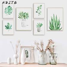 <b>Scandinavian Style Watercolor Plants</b> Leaf Canvas Posters Nordic ...