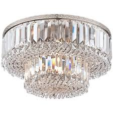 "Magnificence Satin Nickel 16"" Wide <b>Crystal Ceiling Light</b> - Lamps <b>Plus</b>"