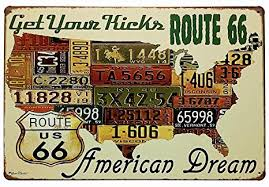 ERLOOD Route 66 Decor <b>Us</b> Road License - <b>Metal</b> Bar <b>Wall</b> Plaque ...