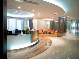 captivating interior office design applying round design with glass room divider completed with black chairs and furnished with orange pedestal chair plus captivating office interior decoration