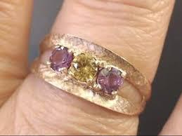 AMETHYST & CITRINE 3 STONE RING <b>REAL</b> 10k YELLOW GOLD ...