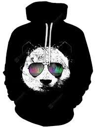 Men Creative <b>Panda</b> Logo Hoodie Cool 3D Digital <b>Printing</b> Pullover ...