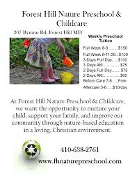 forest hill nature preschool childcare has openings now in its fhnp sidebar ad