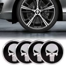 4 PCS <b>Car</b>-<b>Styling</b> Skull Pattern Wheel Hub Decorative <b>Sticker</b> ...