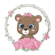 Милый летний ребенок медведь с цветочным венком ...