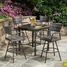 wicker bar height dining table: outdoor tutto all weather wicker bar height dining set for rec room home improvement