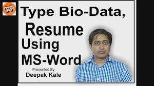 how to create bio data or resume using ms word in hindi simple how to create bio data or resume using ms word in hindi simple job bio data or resume in hindi