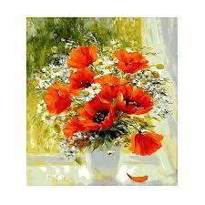 <b>WEEN Digital</b> Flower Painting Coloring by Numbers on Canvas <b>DIY</b> ...
