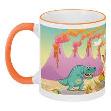 """Кружка с цветной ручкой и ободком """"Забавные <b>динозаврики</b> ..."""