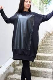 """Купить Свитшот/ Платье """"Leather Square"""" B0065 - черный ..."""