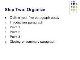 three points  paragraphs   jive how to write an organized on    step two  organize outline your five paragraph essay   introduction paragraph   point