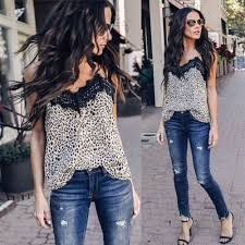 Fashion <b>Summer Women Lace</b> Leopard Print Shirt <b>Sleeveless</b> ...