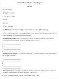 teacher resume templates – free sample  example format    sample professional teacher resume template