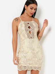 Thread Embroidered <b>Hollow Out Halter</b> Neck <b>Backless</b> Dress in ...