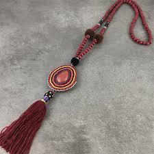 Bohemian Boho Ethnic Long Pendant Tassel Beaded Fringe ...