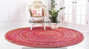 Details about Round Natural <b>Multi</b> Colour Braided Jute Cotton Rug ...