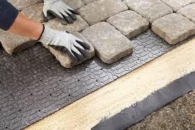 stone patio installation: life time pavers pea gravel patio amp walkways with brick border