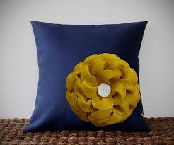 mustard dots pillow home decor warm yellow mustard yellow felt flower navy blue linen quot pillow cover by jillia