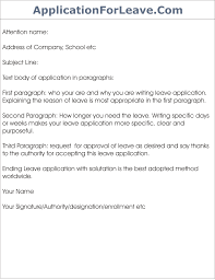 leave application template template of leave application