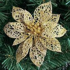 Jiecikou <b>5Pcs Glitter</b> Christmas Decor <b>Artificial</b> Flower Xmas Tree ...