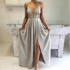 <b>Sexy Halter</b> Light Gray <b>Deep V</b>-<b>Neck</b> Side Slit Satin Prom Dresses ...