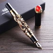 <b>Jinhao</b> Deluxe Golden <b>Double Dragon</b> Fountain Pen with Ink Refills ...
