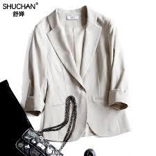 <b>SHUCHAN</b> Cotton Linen <b>Women</b> Single Button Blazer Three ...