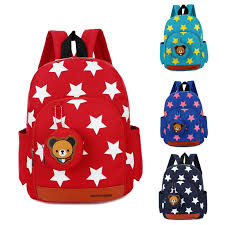 School Adjustable Strap Colorful <b>Star Canvas Backpack</b>-buy at a ...