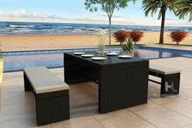 skyline 3 piece bench patio dining set patio outdoor furniture wicker modern design harmonia living picnic affordable outdoor furniture