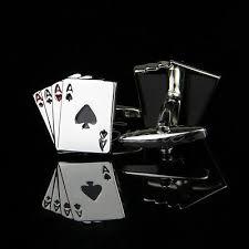 Stainless Steel Silver Vintage <b>Men's</b> Wedding Gift <b>Poker Cufflinks</b> ...