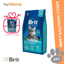 <b>Brit Premium</b> Adult <b>Cat Sensitive</b> Lamb 8KG Dry <b>Cat</b> Food FREE 1.5 ...