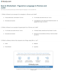 quiz worksheet figurative language in romeo and juliet com print figurative language in romeo and juliet overview examples worksheet
