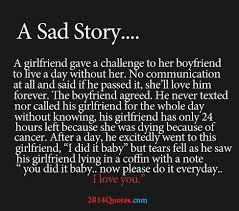 A sad Story... A girlfriend gave a challenge to her boyfriend to ... via Relatably.com