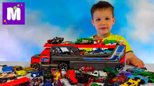 Хот Вилс машина большой автовоз стреляет <b>машинками</b> / много ...