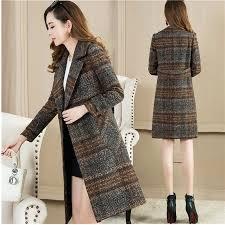 New Plaid woolen coat <b>2019 Autumn Winter Long</b> sleeve Middle ...