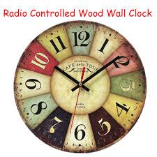 DCF77 <b>Retro Wooden Wall Clocks</b> Funkuhr Quartz MDF 10'inch ...