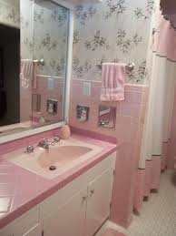 pink tile curtain this vintage bathroom has the classic wallpaperpink tile and yet doubl