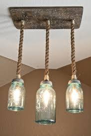 mason jar triple pendant light with vintage blue mason jars and nautical rope on etsy austin mason jar pendant lamp